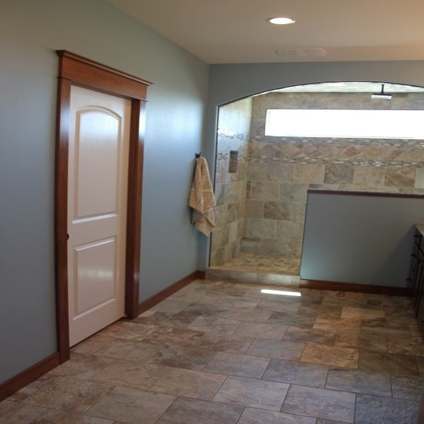 Finished Tile installed in a customer bathroom that is very large