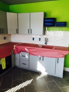 white tile back splash we installed in a kitchen