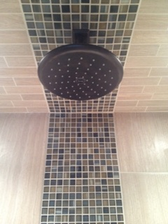 tile around shower head